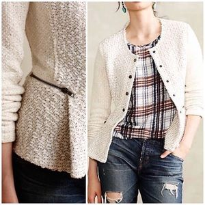 Anthropologie Cream Looped Moto Jacket Blazer